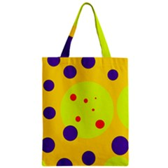 Yellow And Purple Dots Zipper Classic Tote Bag by Valentinaart