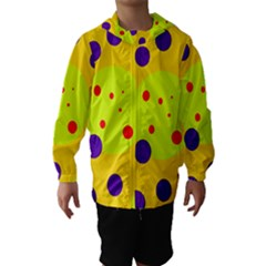 Yellow And Purple Dots Hooded Wind Breaker (kids) by Valentinaart