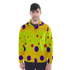 Yellow And Purple Dots Wind Breaker (men) by Valentinaart