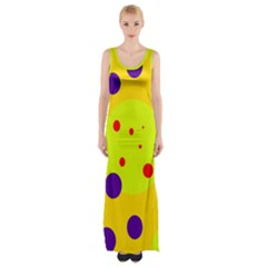 Yellow And Purple Dots Maxi Thigh Split Dress by Valentinaart