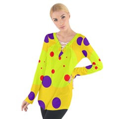 Yellow And Purple Dots Women s Tie Up Tee by Valentinaart