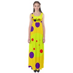 Yellow And Purple Dots Empire Waist Maxi Dress by Valentinaart
