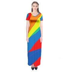 Colorful Abstract Design Short Sleeve Maxi Dress by Valentinaart