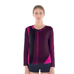 Pink And Black Lines Women s Long Sleeve Tee by Valentinaart