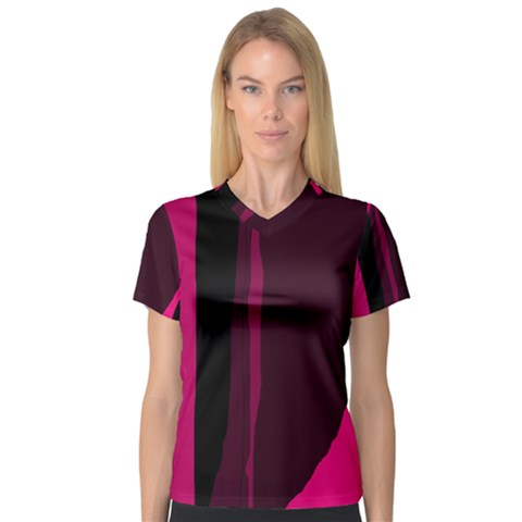 Pink And Black Lines Women s V-neck Sport Mesh Tee by Valentinaart