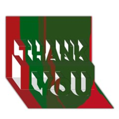 Green And Red Lines Thank You 3d Greeting Card (7x5)  by Valentinaart