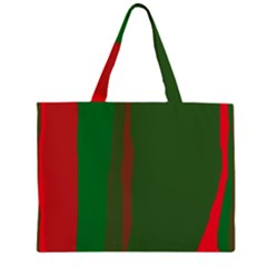 Green And Red Lines Zipper Large Tote Bag by Valentinaart