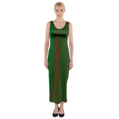 Green And Red Lines Fitted Maxi Dress by Valentinaart