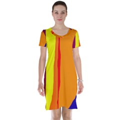 Hot Colorful Lines Short Sleeve Nightdress by Valentinaart