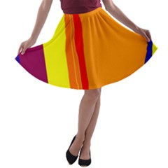 Hot Colorful Lines A Line Skater Skirt by Valentinaart