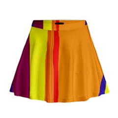 Hot Colorful Lines Mini Flare Skirt by Valentinaart