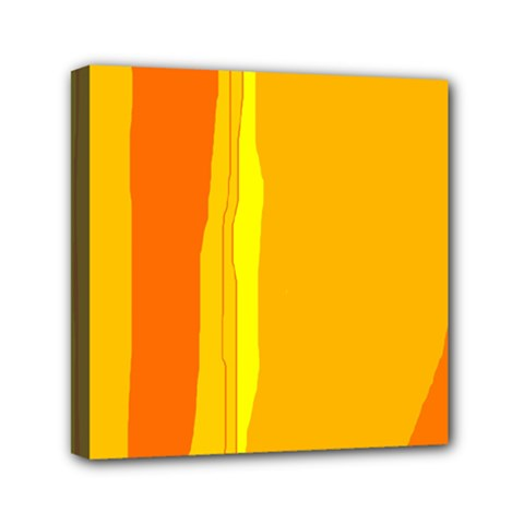 Yellow And Orange Lines Mini Canvas 6  X 6  by Valentinaart