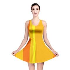 Yellow And Orange Lines Reversible Skater Dress by Valentinaart
