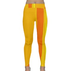Yellow And Orange Lines Yoga Leggings by Valentinaart