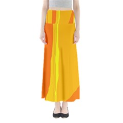 Yellow And Orange Lines Maxi Skirts by Valentinaart