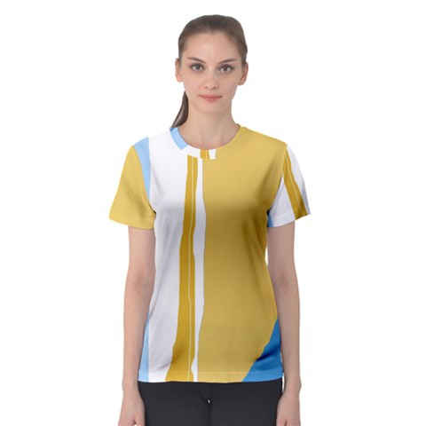 Blue And Yellow Lines Women s Sport Mesh Tee by Valentinaart