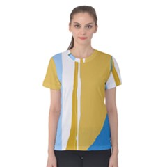 Blue And Yellow Lines Women s Cotton Tee by Valentinaart