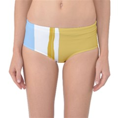 Blue And Yellow Lines Mid-waist Bikini Bottoms by Valentinaart