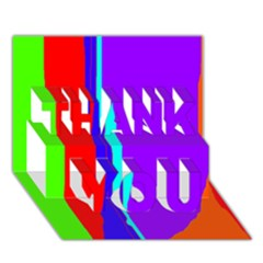 Colorful Decorative Lines Thank You 3d Greeting Card (7x5)  by Valentinaart