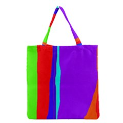 Colorful Decorative Lines Grocery Tote Bag by Valentinaart