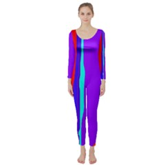 Colorful Decorative Lines Long Sleeve Catsuit by Valentinaart