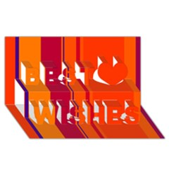 Orange Lines Best Wish 3d Greeting Card (8x4)