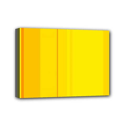 Yellow Lines Mini Canvas 7  X 5  by Valentinaart