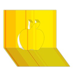 Yellow Lines Apple 3d Greeting Card (7x5)  by Valentinaart