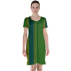 Green Elegant Lines Short Sleeve Nightdress by Valentinaart