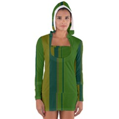 Green Elegant Lines Women s Long Sleeve Hooded T-shirt by Valentinaart