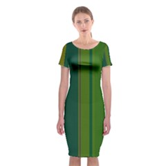 Green Elegant Lines Classic Short Sleeve Midi Dress by Valentinaart