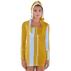 Yellow Elegant Lines Women s Long Sleeve Hooded T Shirt