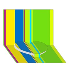 Colorful Lines Heart Bottom 3d Greeting Card (7x5)