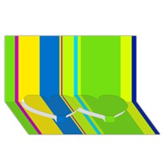 Colorful Lines Twin Heart Bottom 3d Greeting Card (8x4)  by Valentinaart