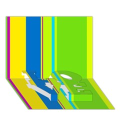 Colorful Lines Love Bottom 3d Greeting Card (7x5)  by Valentinaart