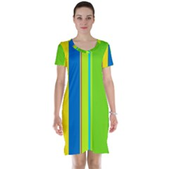 Colorful Lines Short Sleeve Nightdress by Valentinaart