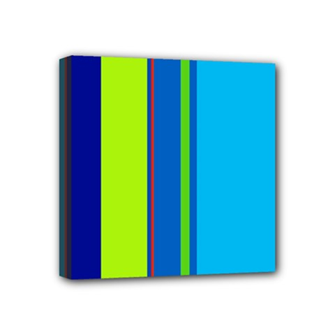 Blue And Green Lines Mini Canvas 4  X 4  by Valentinaart