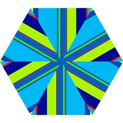 Blue And Green Lines Mini Folding Umbrellas by Valentinaart