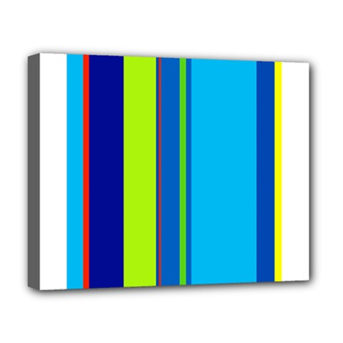 Blue And Green Lines Deluxe Canvas 20  X 16   by Valentinaart