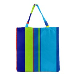 Blue And Green Lines Grocery Tote Bag by Valentinaart