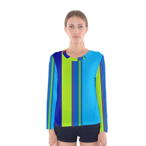 Blue And Green Lines Women s Long Sleeve Tee by Valentinaart