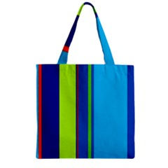 Blue And Green Lines Zipper Grocery Tote Bag by Valentinaart