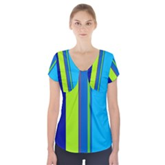 Blue And Green Lines Short Sleeve Front Detail Top by Valentinaart