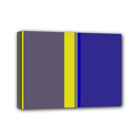 Blue And Yellow Lines Mini Canvas 7  X 5  by Valentinaart