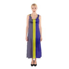 Blue And Yellow Lines Sleeveless Maxi Dress by Valentinaart
