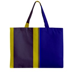 Blue And Yellow Lines Zipper Mini Tote Bag by Valentinaart