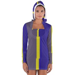 Blue And Yellow Lines Women s Long Sleeve Hooded T-shirt by Valentinaart