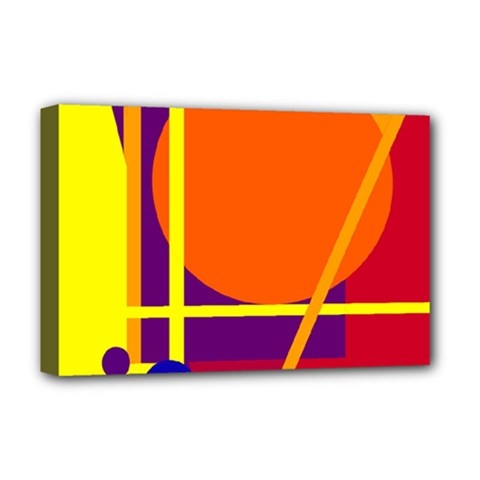 Orange Abstract Design Deluxe Canvas 18  X 12   by Valentinaart