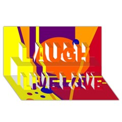Orange Abstract Design Laugh Live Love 3d Greeting Card (8x4)  by Valentinaart
