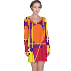Orange Abstract Design Long Sleeve Nightdress